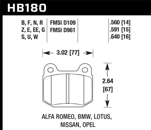 Hawk 03-06 Evo / 04-09 STi / 03-07 350z Track Performance Ceramic Street Rear Brake Pads