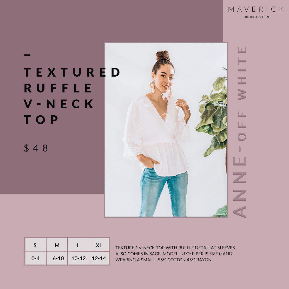 Anne - Texture Patterned V Neck Top - Off White