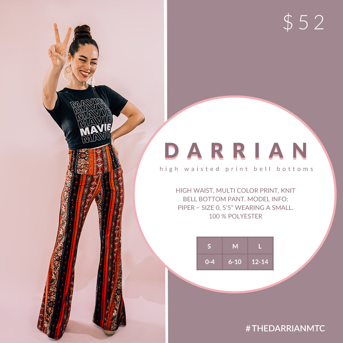 Darrian - High Waisted Bell Bottom Pant