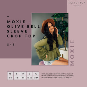 Moxie -  Waffle Knit Bell Sleeve Crop Top