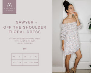 Sawyer - Floral Printed Off-The-Shoulder Dress