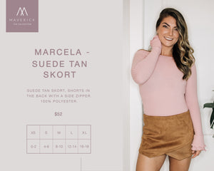 Marcela - Suede Tan Side Zipper Skort