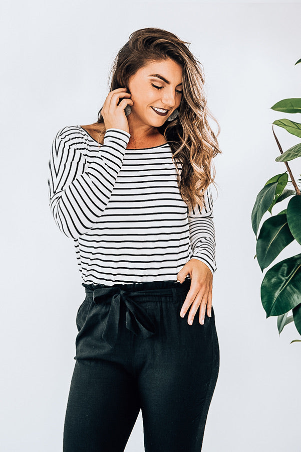 Remy - Black/White Striped Long Sleeve Top
