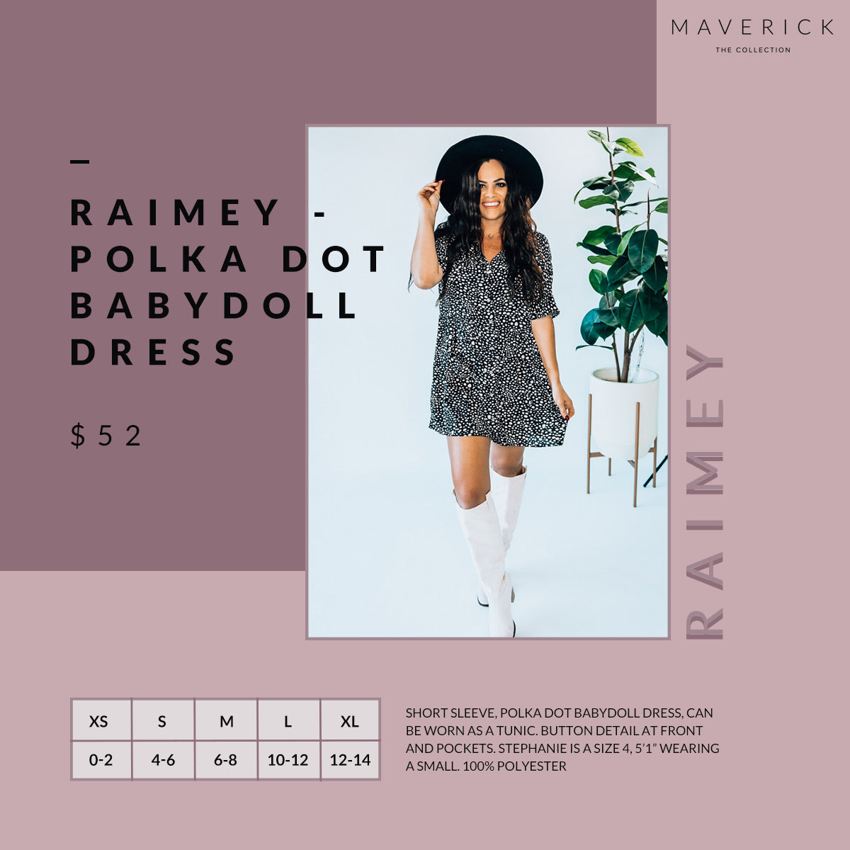 Raimey - Polka Dot Babydoll Short Sleeve Dress