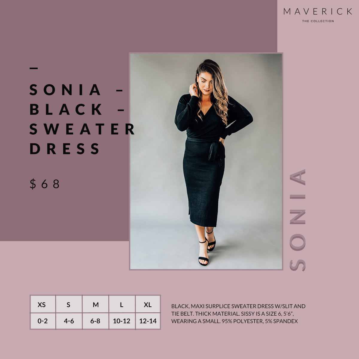 Sonia - Black Surplice Sweater Maxi Dress