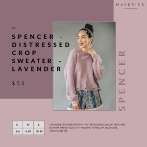 Spencer - Lavender - Distressed Crop Knit Sweater