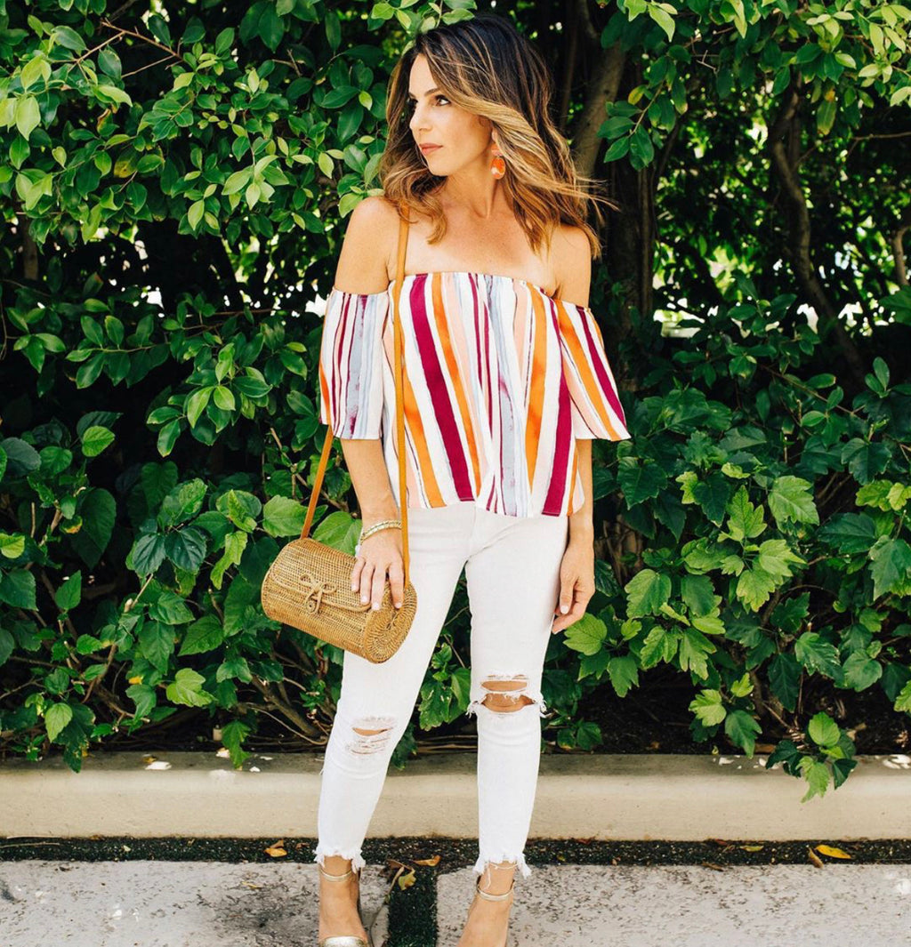 Eden - Striped Off The Shoulder Top