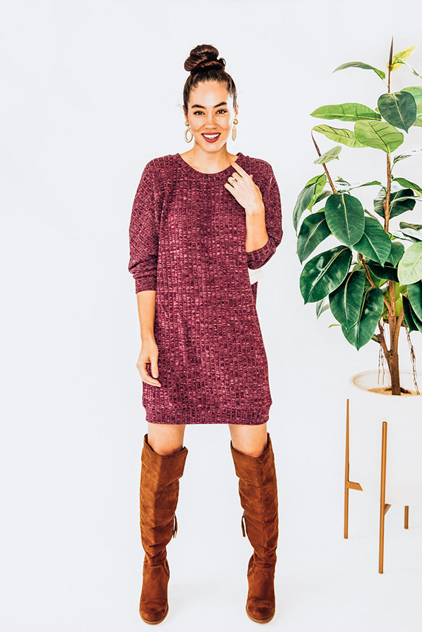 Caitlin II - Maroon Mid Length Dress