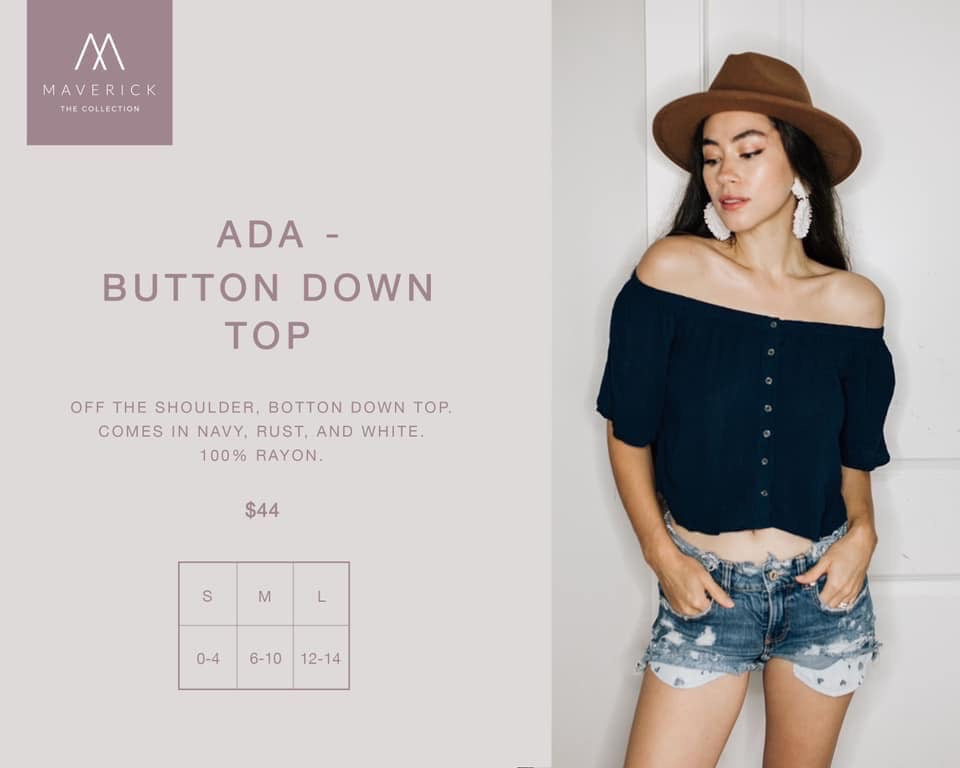 Ada - Off The Shoulder Top - Navy