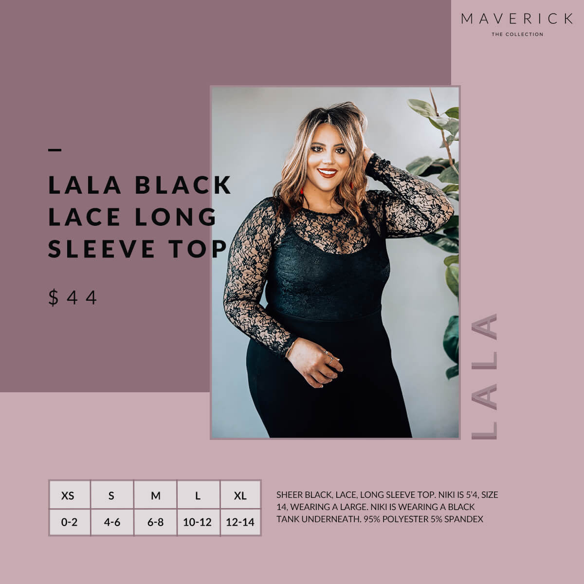 Lala - Black Sheer Lace Long Sleeve