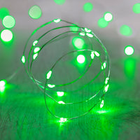 20 Green Led Micro Battery Fairy Lights