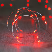 20 Red Led Micro Battery Fairy Lights