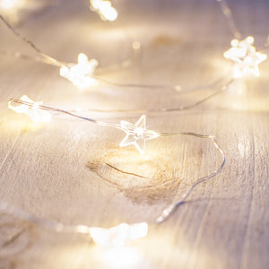 40 Warm White Star Micro Battery Fairy Lights