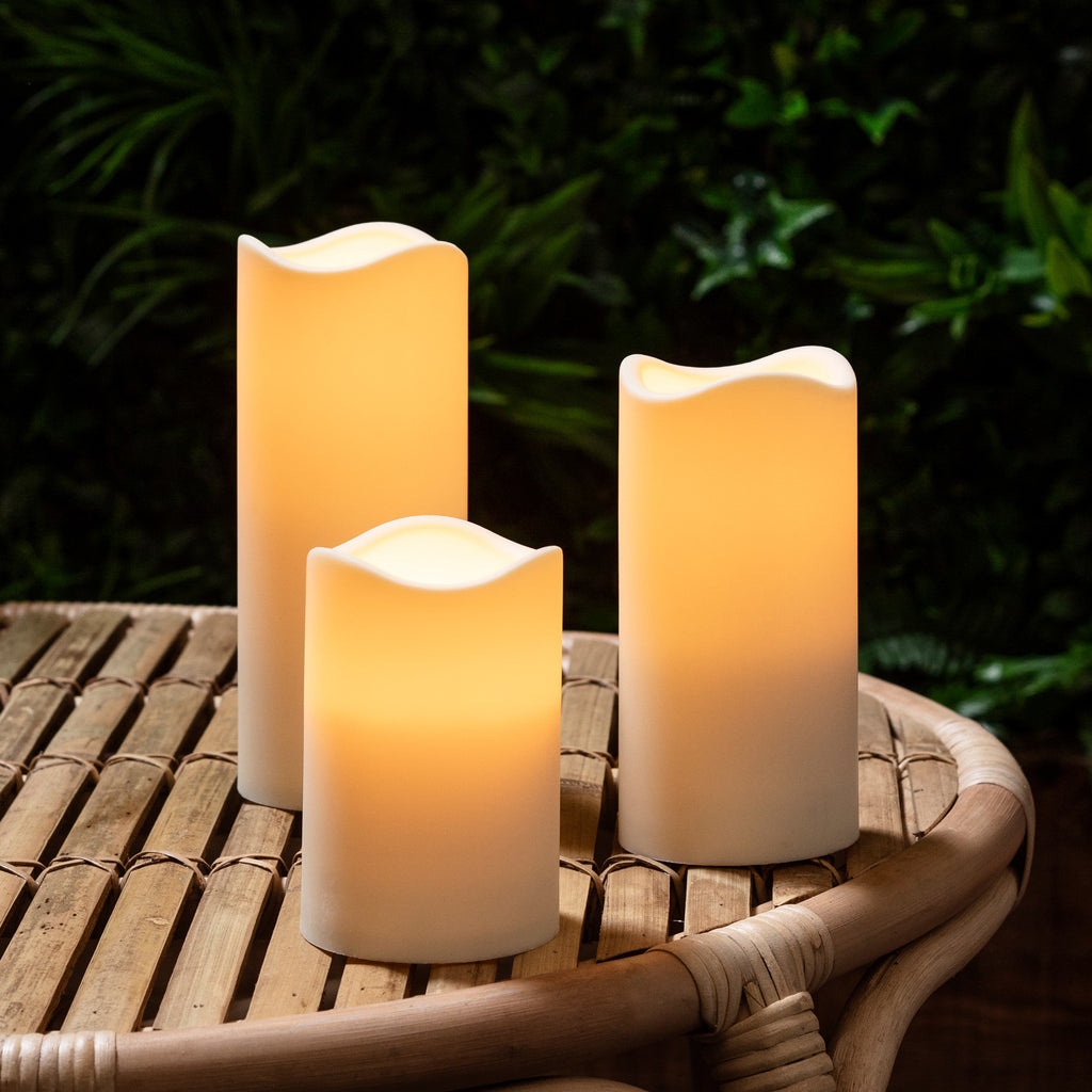 3 Outdoor Battery Led Candles Amp Lights4fun Co Uk