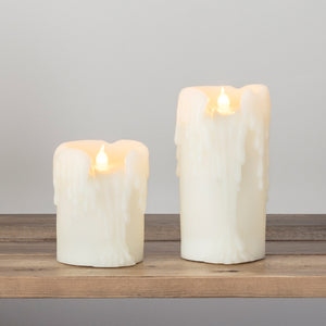2 Battery Dripping Wax Church LED Pillar Candles