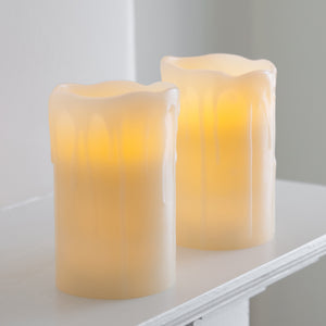 2 Melted Wax Battery Powered Church Pillar LED Candles