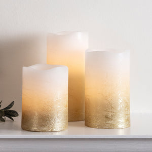 3 Metallic Gold Ombre Wax LED Pillar Candles