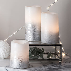 3 Metallic Silver Ombre Wax LED Pillar Candles