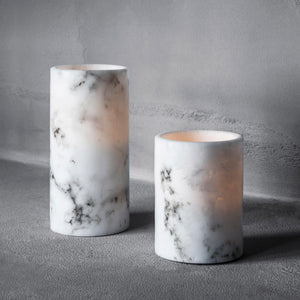 2 Marble Wax LED Pillar Candles