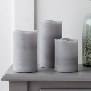Grey LED Pillar Candle Trio