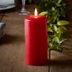 TruGlow® Red LED Pillar Candle 15cm