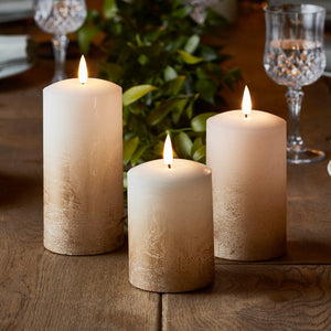 TruGlow® Bronze Ombre LED Pillar Candle Trio