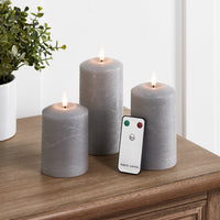 TruGlow® Grey LED Pillar Candle Trio with Remote