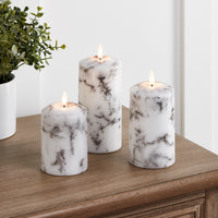 TruGlow® Marble LED Pillar Candle Trio With Remote