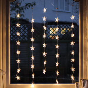 40 Warm White LED Star Curtain Light