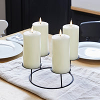 4 TruGlow® Ivory LED Pillar Candles & Table Candle Holder