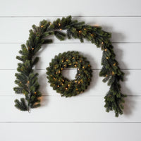 Pre Lit Outdoor Wreath & Garland Bundle