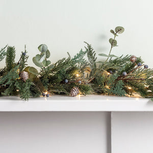 2m Frosted Berry and Pinecone Christmas Garland & Micro Light Bundle
