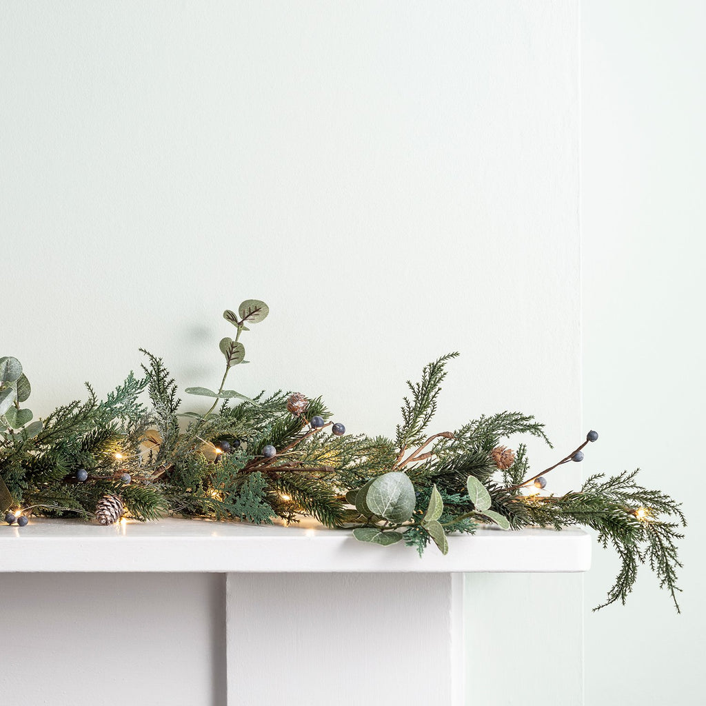 2m Frosted Berry And Pinecone Christmas Garland Amp Micro