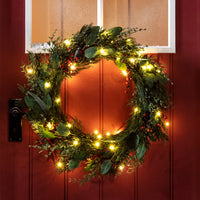 Red Berry Christmas Wreath Micro Light Bundle