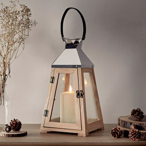 Wooden Trapeze Lantern With TruGlow® Candle
