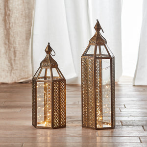 Asilah Artisan Moroccan Lantern Duo with Micro Lights