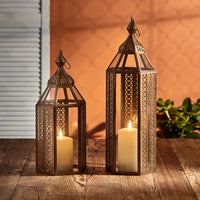 Asilah Artisan Moroccan Lantern Duo with TruGlow® Candles
