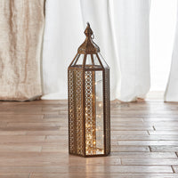 Asilah Large Artisan Moroccan Lantern with Micro Lights