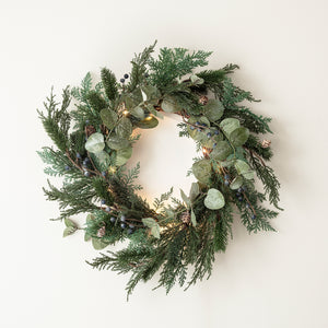 50cm Frosted Berry & Pinecone Wreath Micro Light Bundle