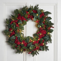 Oversized Red Berry Wreath Micro Light Bundle