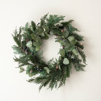 Frosted Berry and Pinecone Garland and Wreath