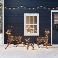 Rattan Reindeer Family Outdoor Christmas Figures