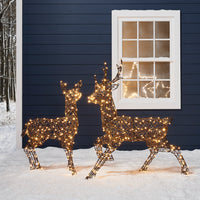 Rattan Stag & Doe Christmas Figures