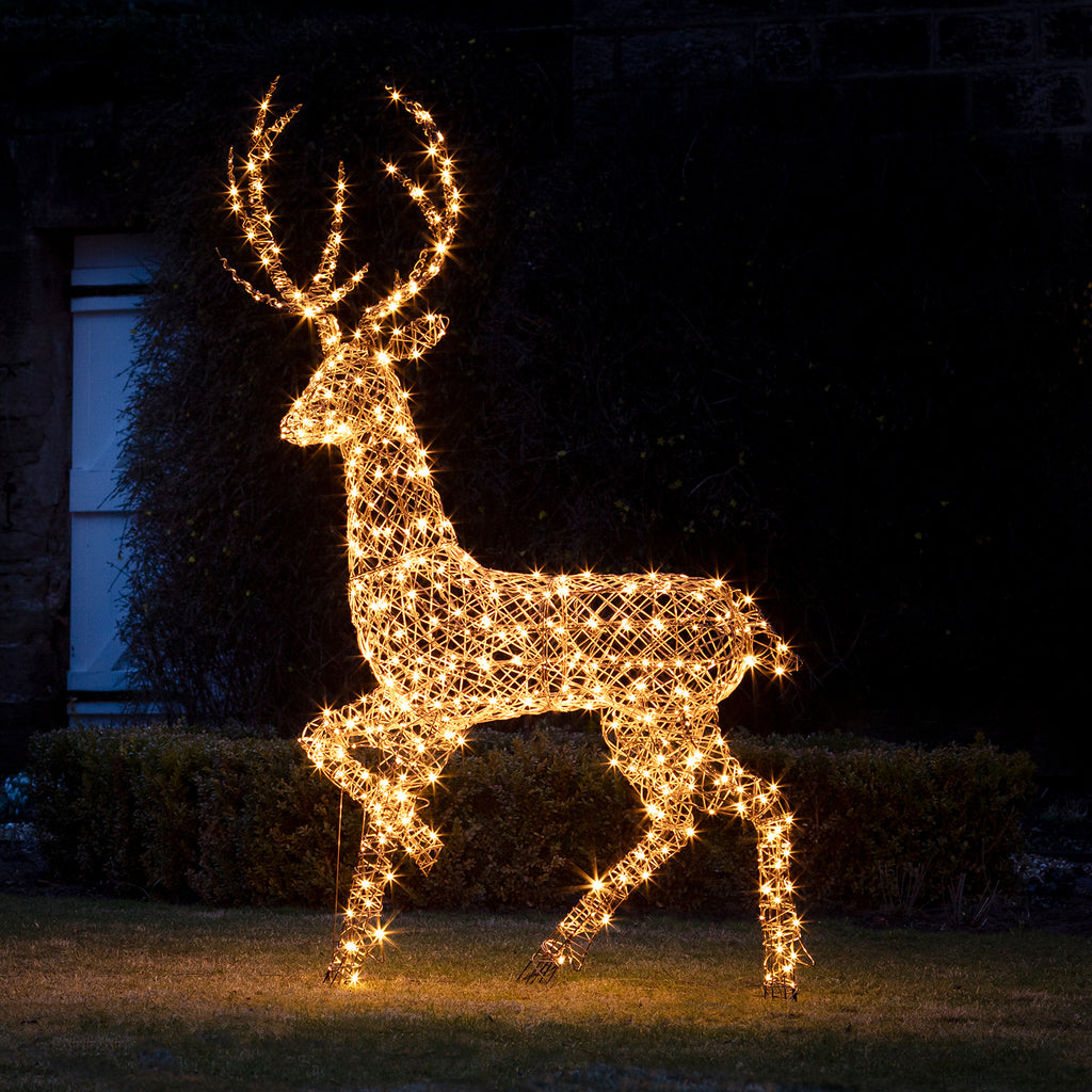 Large Rattan Stag Amp Doe Outdoor Christmas Figures