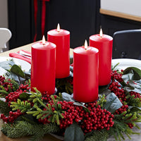 4 TruGlow® Red LED Pillar Candles & Table Candle Holder