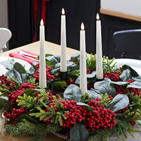 Red Berry Advent Wreath & TruGlow® Taper Candle Table Decoration