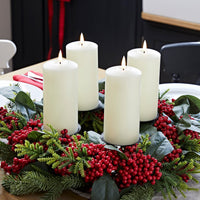 Red Berry Advent Wreath & Ivory TruGlow® Candle Table Decoration