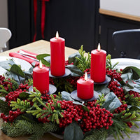 Red Berry Advent Wreath & Slim Red TruGlow® Candle Table Decoration