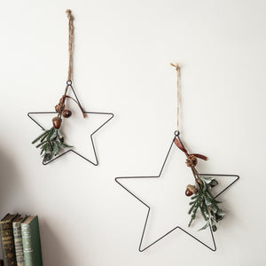 Eucalyptus Hanging Star Christmas Decoration Duo