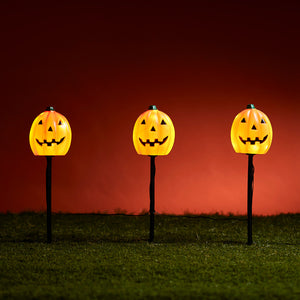 3 Pumpkin Garden Stake Lights